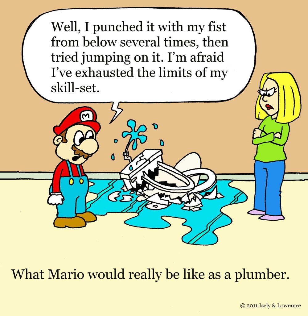 What Mario Would Really Be Like as a Plumber. Dallas Plumbing and HVAC Company Friday Funny & Cartoons. Kitchens & Baths Designer Showroom.