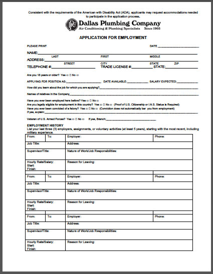 dallas plumbing company application for employment